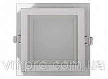 LED панель Luxel квадратная со стеклянным декором, 12W 4000K (SDLG-12N)