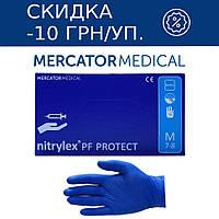 Перчатки нитриловые неопудренные Mercator Medical NITRYLEX PROTECT BLUE PF (синие), фото 1
