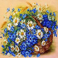Алмазная вышивка, корзинка с полевыми цветами 25х30 см, квадратные стразы, полная выкладка