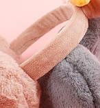 Наушники меховые с ушками кролика LOLA gray, фото 4