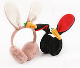 Наушники меховые с ушками кролика LOLA black, фото 7