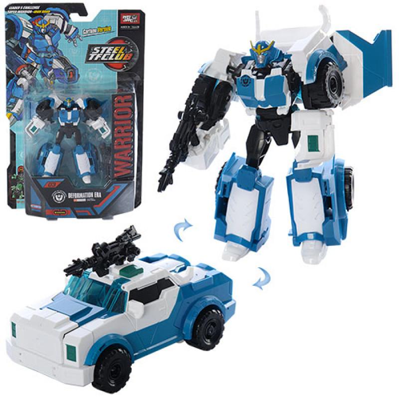 Трансформер машина 18 см Праймбот бело синий полицейская машина, T Warrior на планшетке пластик  J8017 С