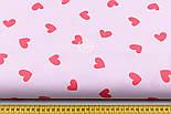 Хлопковая ткань с сердечками красного цвета на розовом фоне (№1907), фото 2
