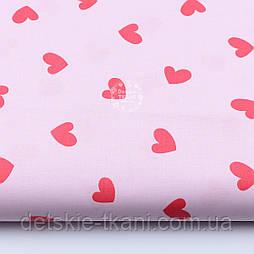Хлопковая ткань с сердечками красного цвета на розовом фоне (№1907)