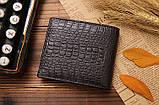 Кошелек бумажник мужской Crocodile dark brown, фото 2