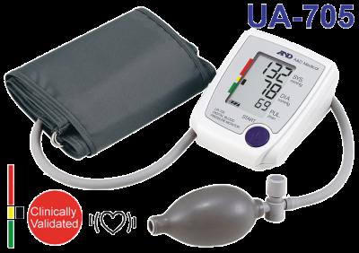 Полуавтоматический тонометр с манжетой на плечо UA-705L (32-45см), A&D Medical, Япония