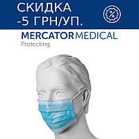 Защитная маска на резинках трехслойная Mercator Medical (50 шт в упаковке) синяя