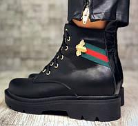 Gucci стильные кожаные черные ботинки осень- весна! из натуральной кожи! удобная подошва, фото 1