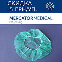 Шапочка-шарлотка одноразовая из нетканого материала (100 шт в уп.) зеленый