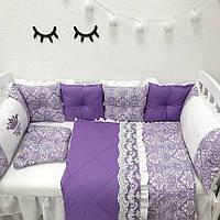 """Комплект в детскую кроватку - подушки """"Фиолетовый Дамаск"""""""