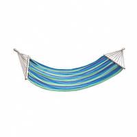 Гамак тканевый с деревянными планками перекладинами 80 см лежак 200*80 с рюкзачком.Сине-Зеленый, фото 1
