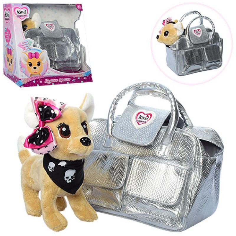 Собачка в серой (серебристой) сумочке Кикки (Кики) типу chi chi love (Чи чи лав), музыкальная, 3483