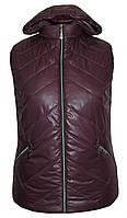 Весенняя жилетка с капюшоном больших размеров,утеплитель силикон,размеры с 54 по 64, темно лиловый(2)