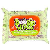 Boogie Wipes, Салфетки с натуральной солью для текущего носа, свежий запах, 30 салфеток