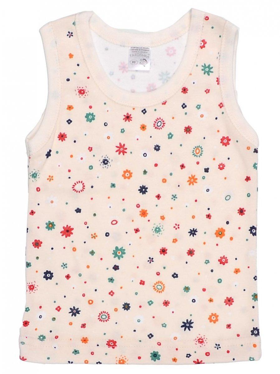 eda3e4c18896 Майка для девочки Татошка 25628 интерлок, молочная с цветными цветочками 80