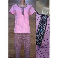Домашний костюм пижама для беременных и кормящих мам розового цвета с футболкой и штанами 40-50 р