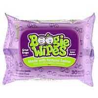 Boogie Wipes, Салфетки с натуральной солью для текущего носа, отличный виноградный запах, 30 салфеток