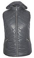 Весенняя жилетка с капюшоном больших размеров,утеплитель силикон,размеры с 54 по 64,серый(2)