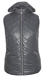 Весняна жилетка з капюшоном великих розмірів,утеплювач силікон,розміри з 54 по 64,сірий(2)