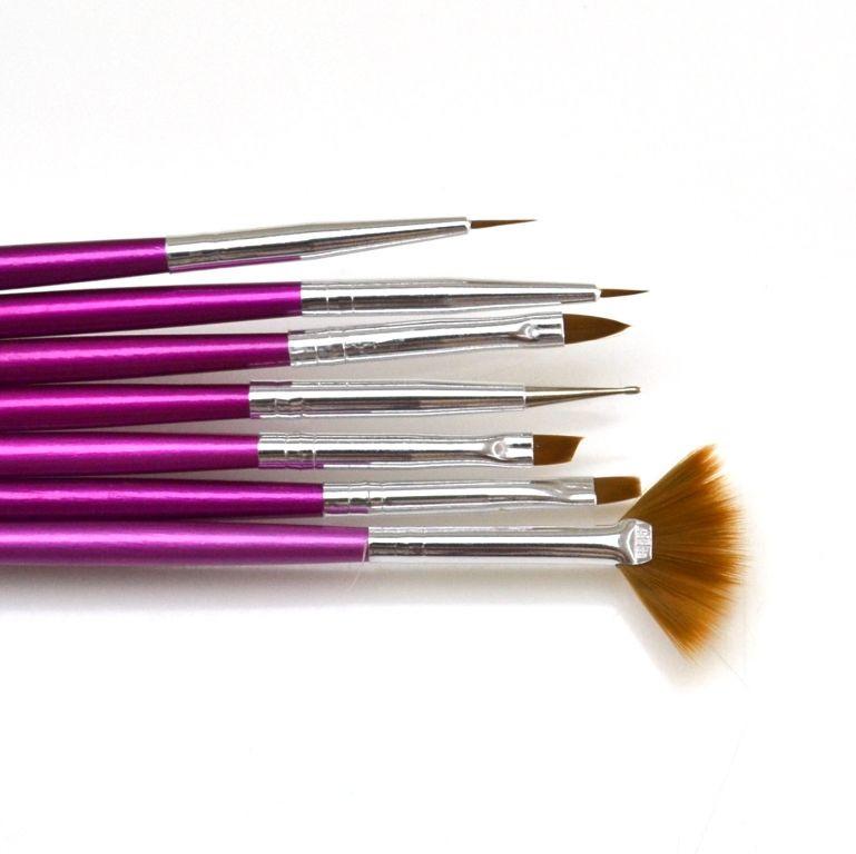 Набор кистей для рисования Lker - 7 шт/уп - фиолетовая ручка - 01