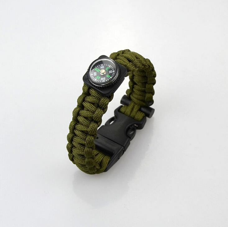 Браслет виживання Paracord compass green