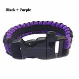 Браслет выживания Paracord black purple, фото 2