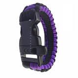 Браслет выживания Paracord black purple, фото 3