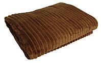 Плед махровый полуторный 19010 Norka кофе 1,5 м * 2,0 м вельсофт (микрофибра)