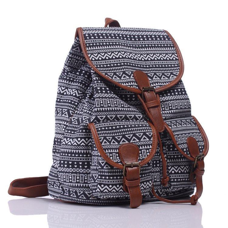 Рюкзак жіночий міський Хіпі Ethnic black-white (чорно-білий)