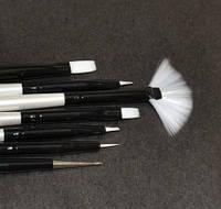 Набор кистей для геля и рисования Lker - 7 шт/уп - белый ворс