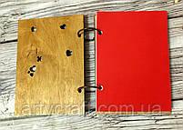 """Деревянный блокнот с гравировкой """"Влюбленные жирафы"""" (А6), фото 3"""