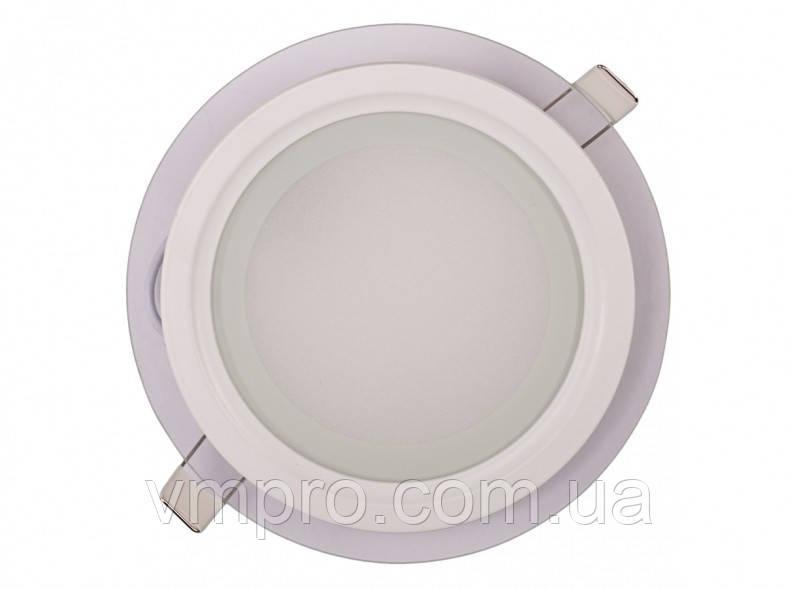 LED панель Luxel круглая со стеклянным декором, 12W 4000K (SDLG-12N)