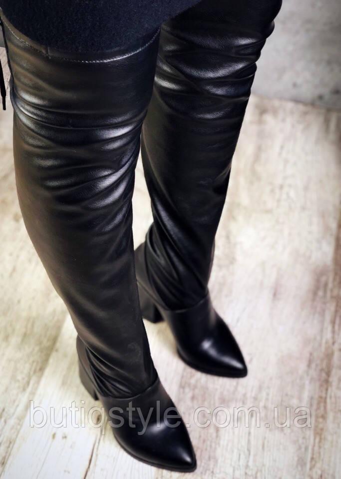 Демисезонные женские ботфорты Idealчерные комбинация натуральнойкожи