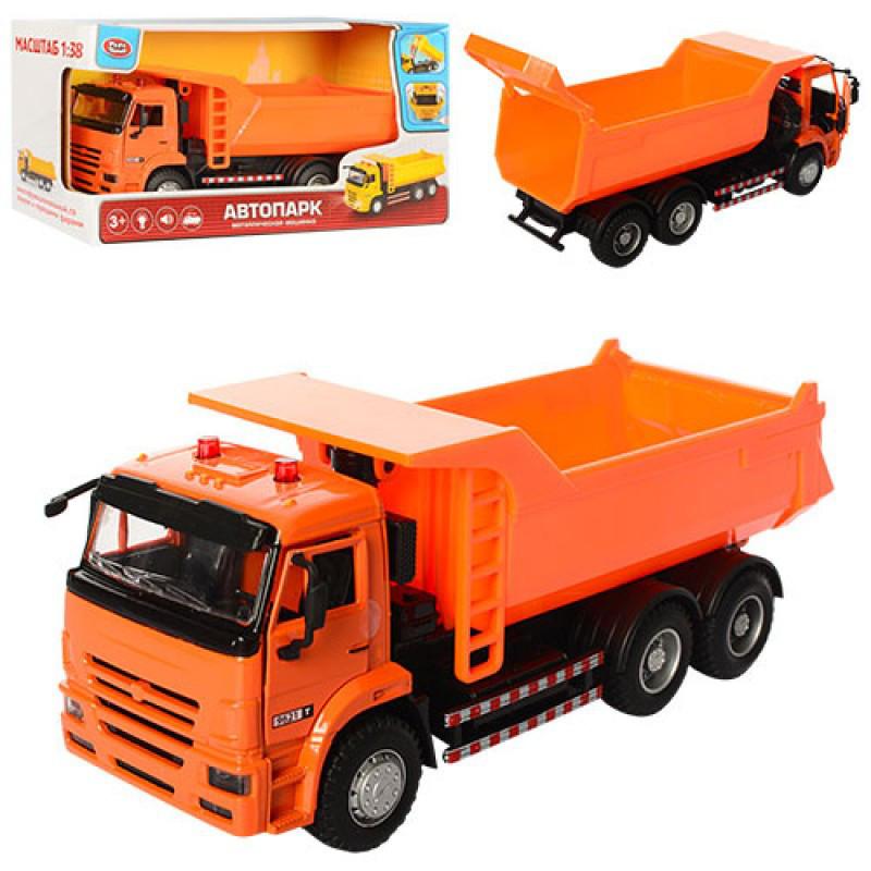 Грузовик Самосвал оранжевы 21 см модель масштаб 1:38, звук, свет, инерция, двери открываются, Автопарк 9621 АB