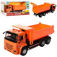 Грузовик Самосвал оранжевы 21 см модель масштаб 1:38, звук, свет, инерция, двери открываются, Автопарк 9621 АB, фото 1