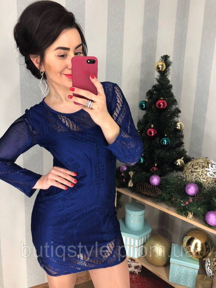 Женское короткое платье кружево синее,  красное. черное