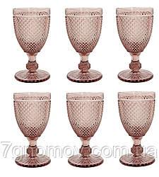 Набор 6 высоких бокалов для вина из розового цветного стекла Bailey Emili 250 мл