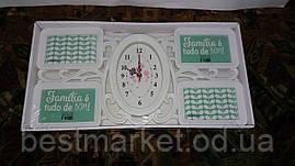 Фоторамка, Годинники Настінні Хайтек + 4 фоторамки Family (фото 15*15 см) 51*26 см ( Z-019)