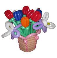 Корзина из воздушных шаров - Тюльпаны