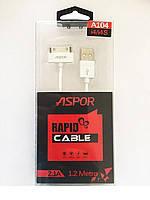 USB-кабель Aspor A104 Apple 30pin Iphone 4 (1.2m) white