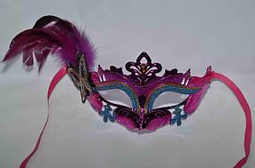 Маска  карнавальная узор с пером и бабочкой