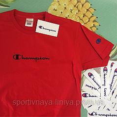 Футболка Champion красная   вышивка унисекс Реплика Топ