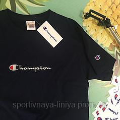 Футболка Champion черная  вышивка унисекс Реплика Топ