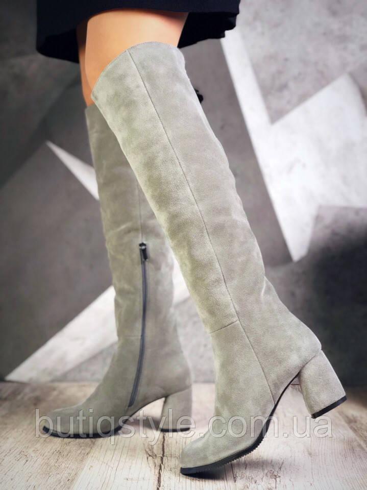 Сапоги с мини бубоном серые (еврозима)натуральная замша