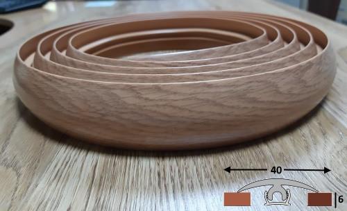 Пластиковый гибкий порог шириной 40 мм Ideal, 3,0 м Дуб коньячный