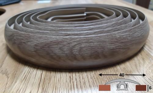Радиусный порожек шириной 40 мм Ideal, 3,0 м  Дуб капучино