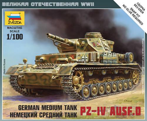 Модель немецкого среднего танка PZ-4 D. 1/100 ZVEZDA 6151, фото 2