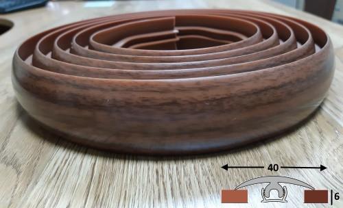 Гибкий порог со скрытым креплением шириной 40 мм Ideal, 3,0 м Орех тёмный