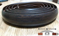 Чёрный эластичный порог шириной 40 мм Ideal, 3,0 м Венге, фото 1