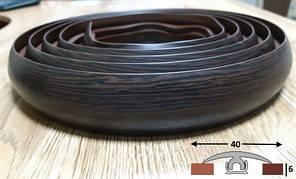 Чёрный эластичный порог шириной 40 мм Ideal, 3,0 м Венге